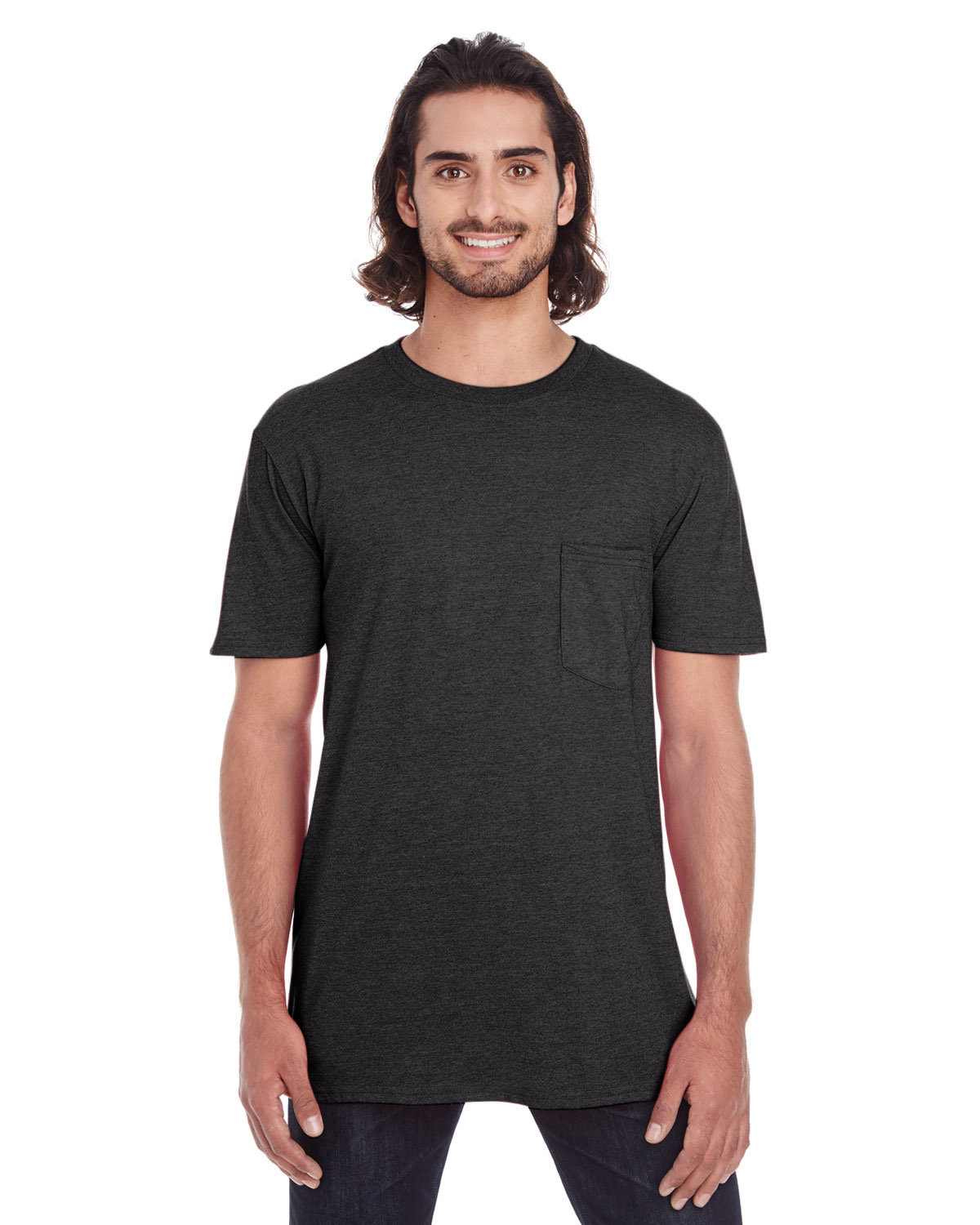 Anvil Adult Lightweight Pocket T-Shirt SMOKE