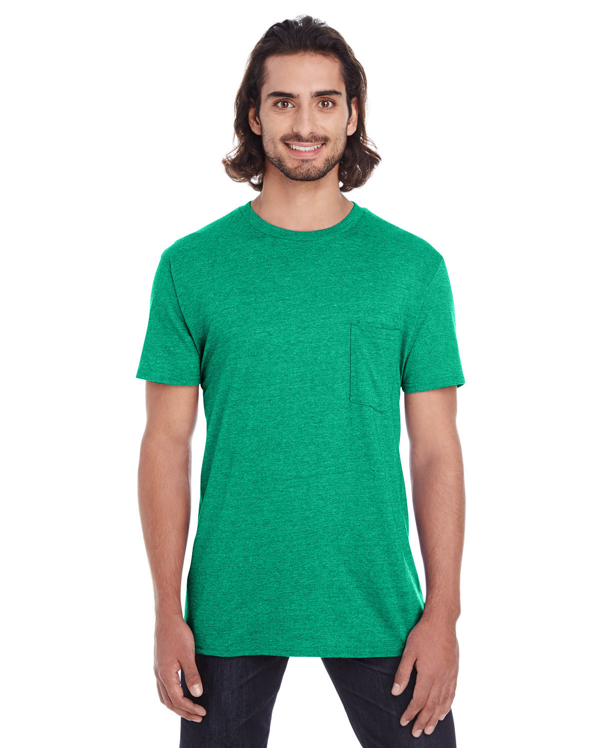 Anvil Adult Lightweight Pocket T-Shirt HEATHER GREEN
