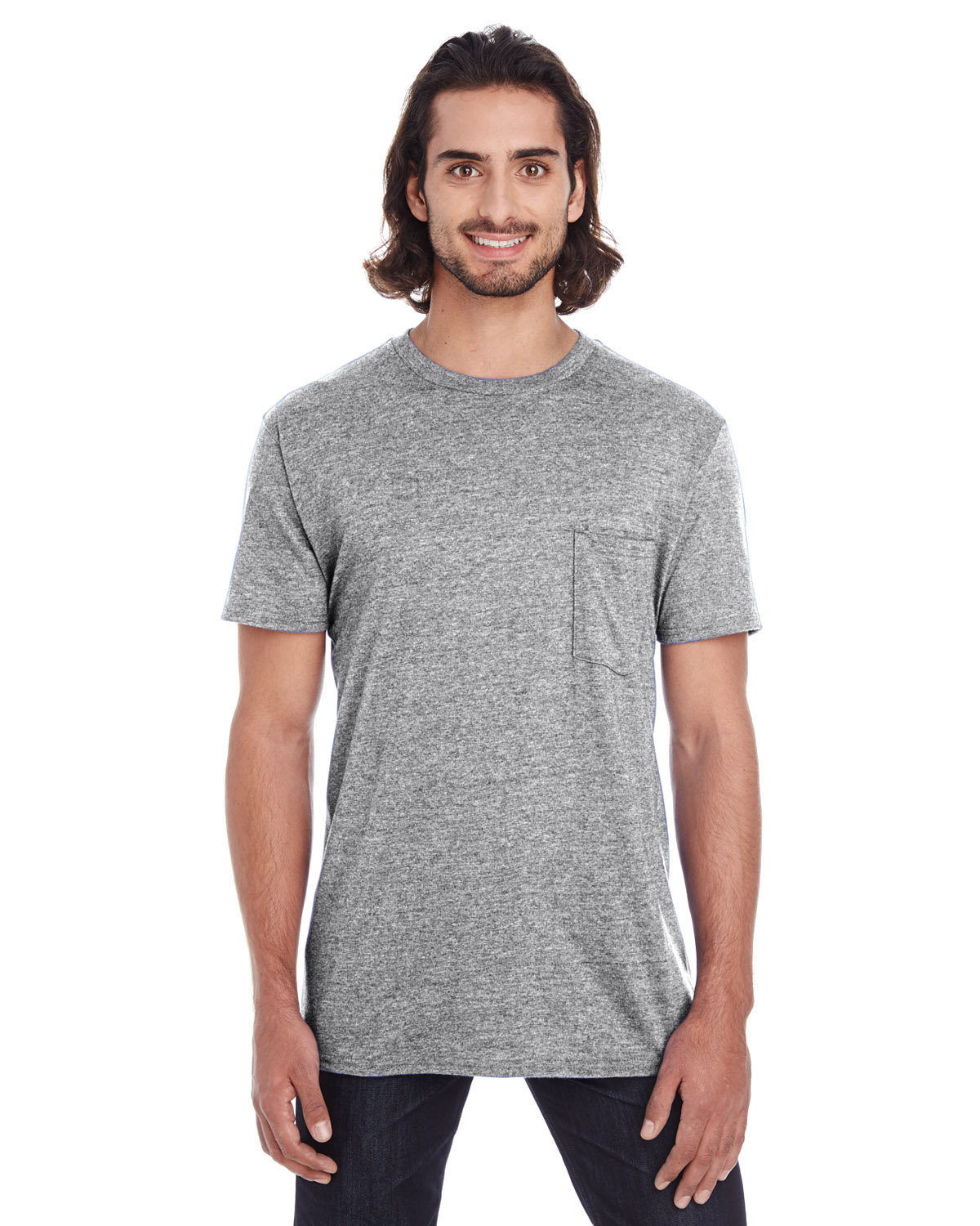 Anvil Adult Lightweight Pocket T-Shirt HEATHER GREY