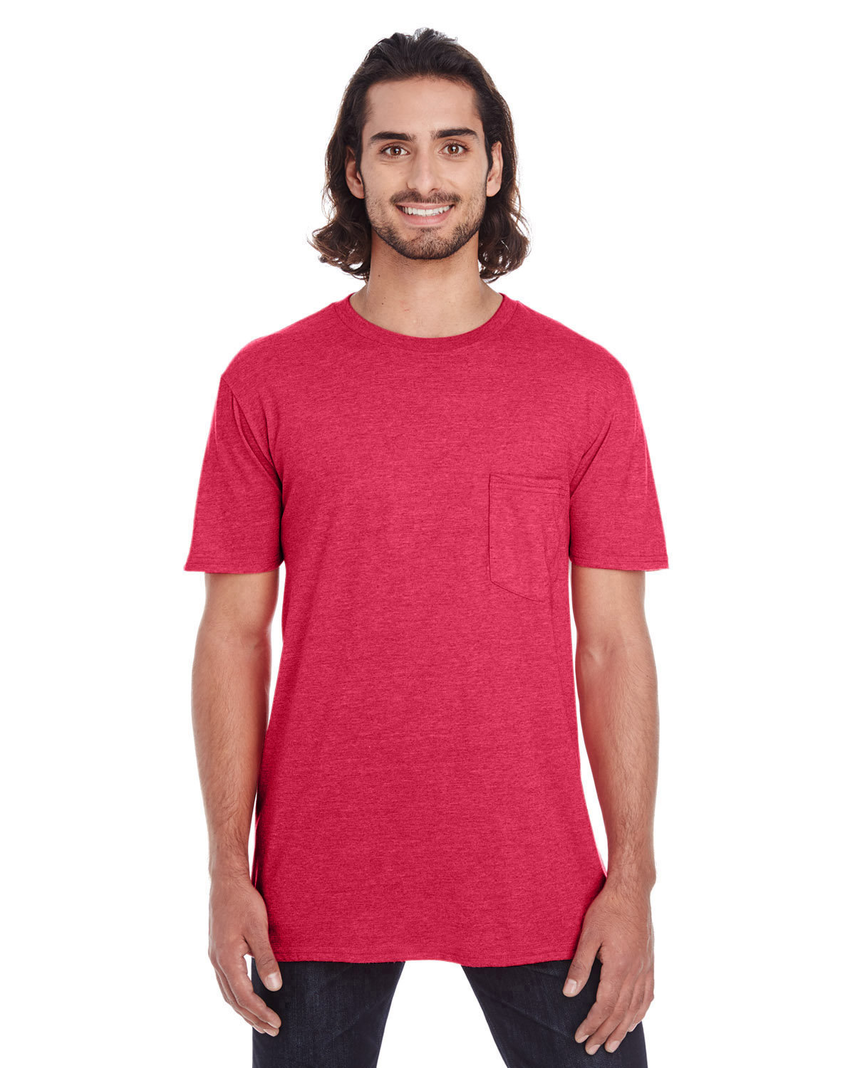 Anvil Adult Lightweight Pocket T-Shirt RED
