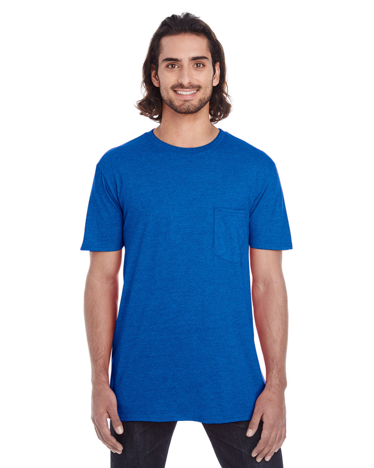 Anvil Adult Lightweight Pocket T-Shirt ROYAL BLUE