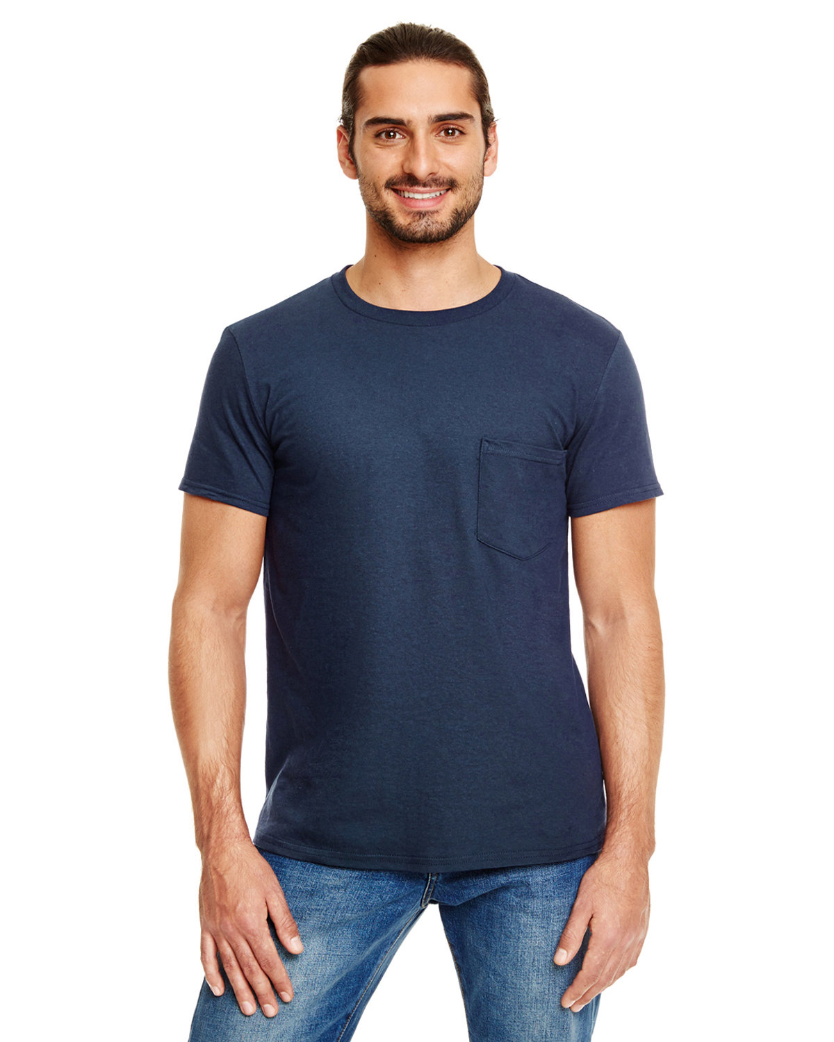 Anvil Adult Lightweight Pocket T-Shirt NAVY