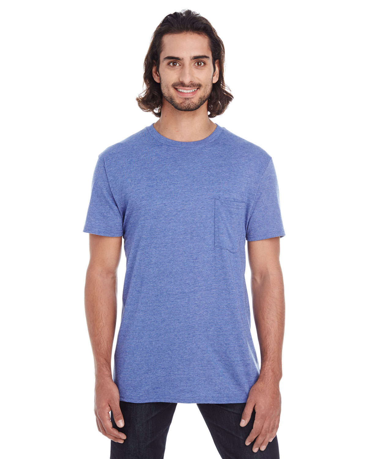 Anvil Adult Lightweight Pocket T-Shirt HEATHER BLUE