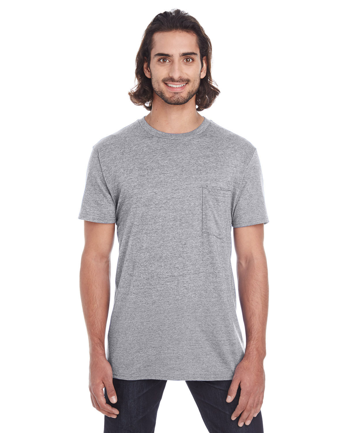 Anvil Adult Lightweight Pocket T-Shirt HEATHER GRAPHITE