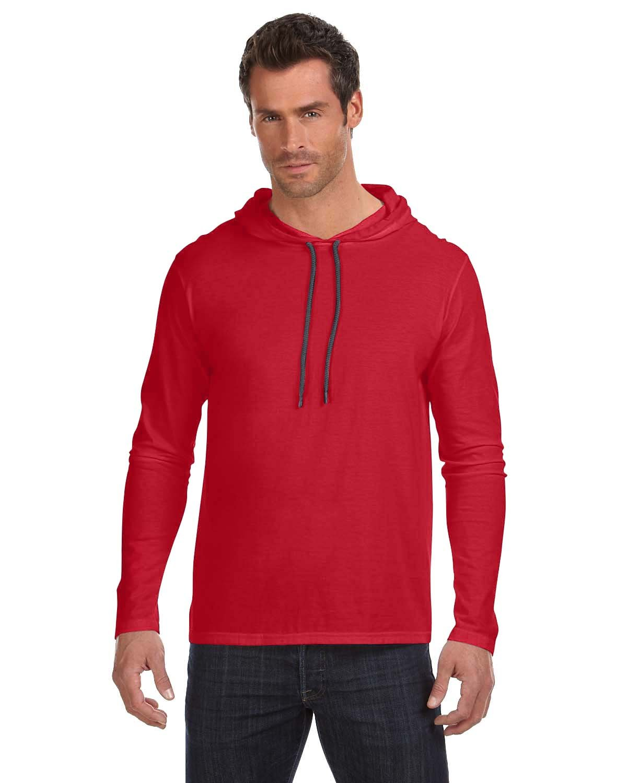 Anvil Adult Lightweight Long-Sleeve Hooded T-Shirt RED/ DARK GREY