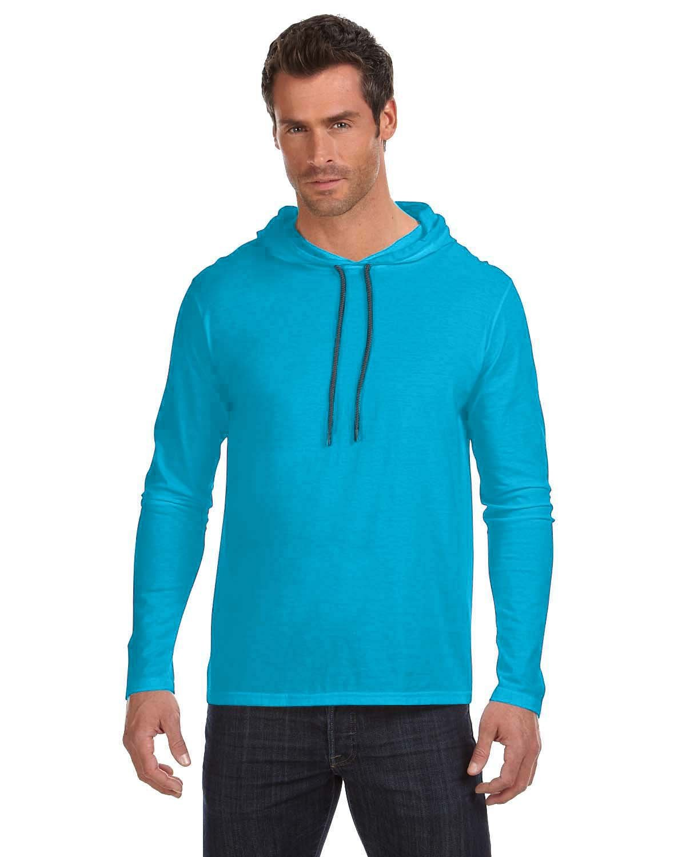 Anvil Adult Lightweight Long-Sleeve Hooded T-Shirt CARIB BLUE/ D GR
