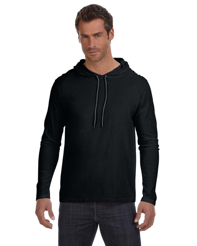 Anvil Adult Lightweight Long-Sleeve Hooded T-Shirt BLACK/ DARK GREY