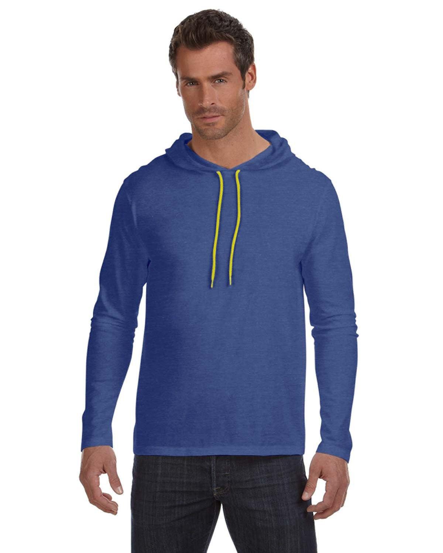 Anvil Adult Lightweight Long-Sleeve Hooded T-Shirt HTH BLU/ NEO YEL