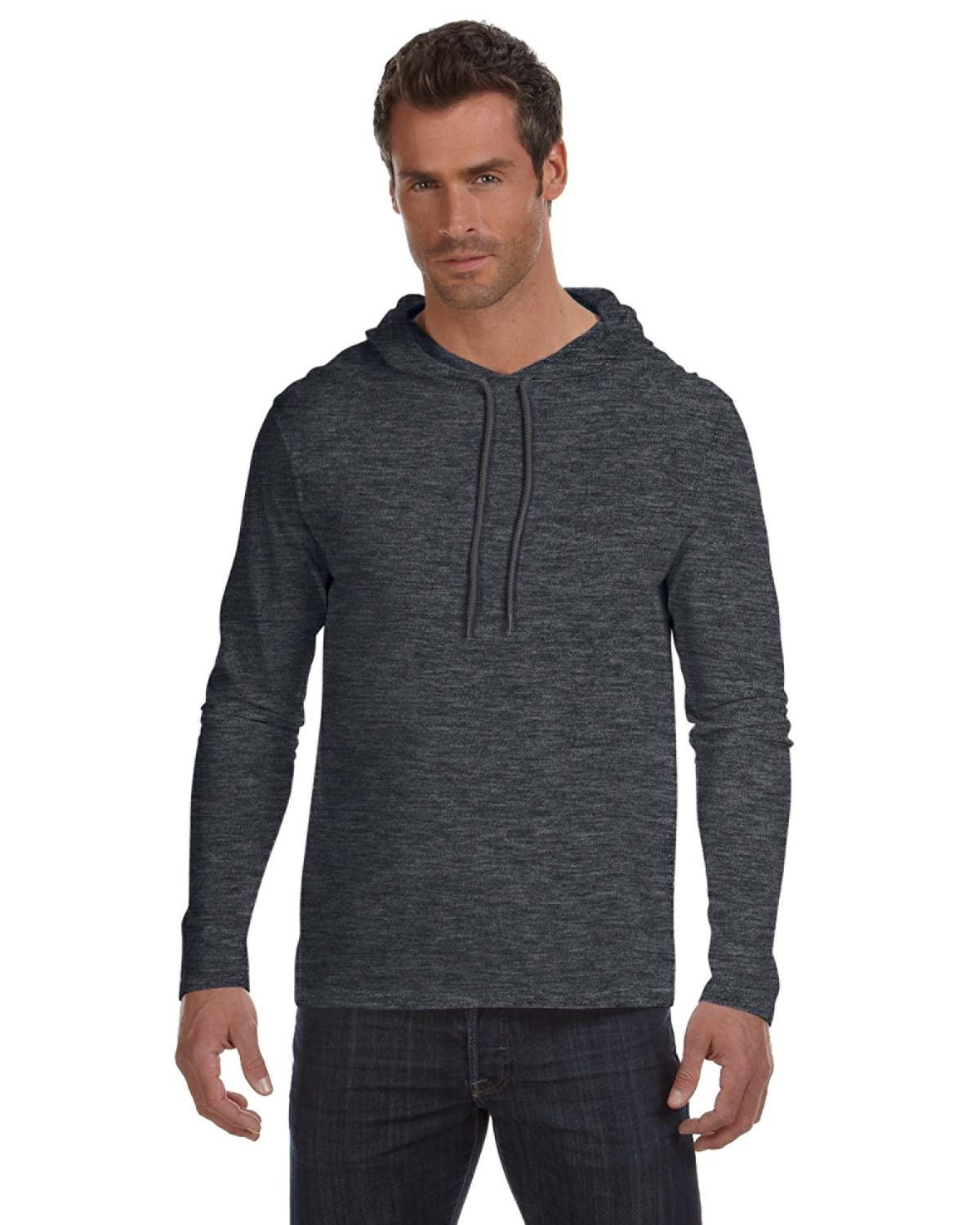 Anvil Adult Lightweight Long-Sleeve Hooded T-Shirt HTH DK GY/ DK GY