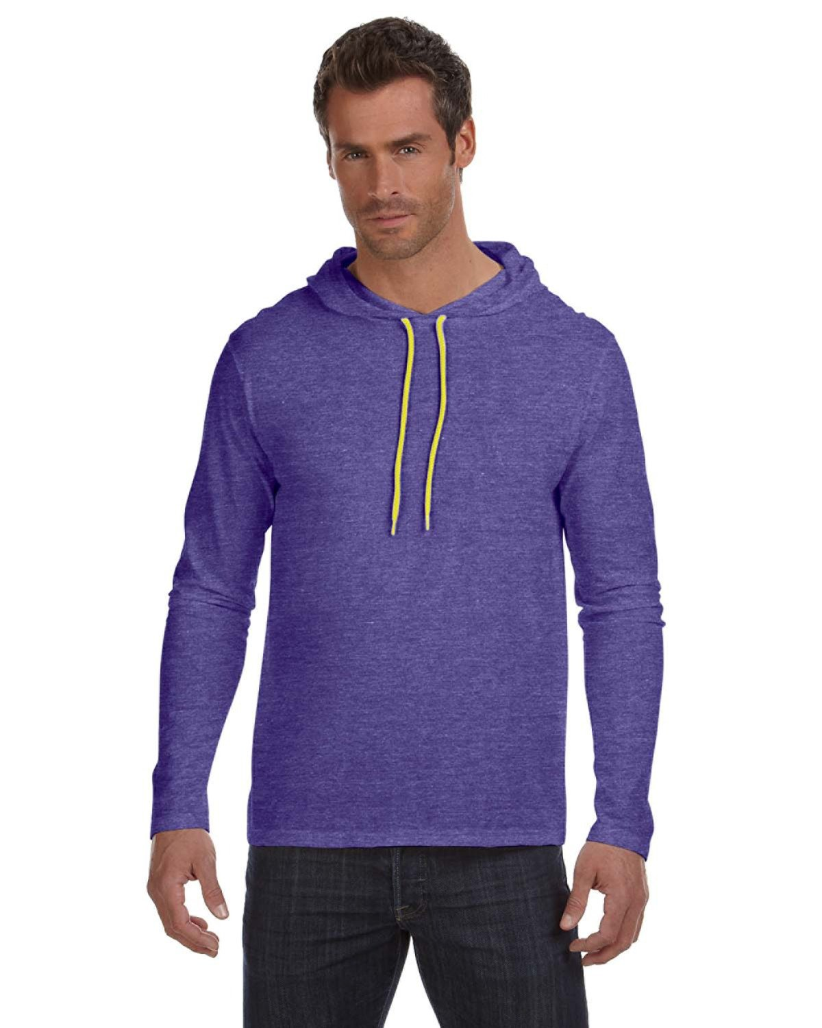 Anvil Adult Lightweight Long-Sleeve Hooded T-Shirt HTH PRP/ NEO YEL