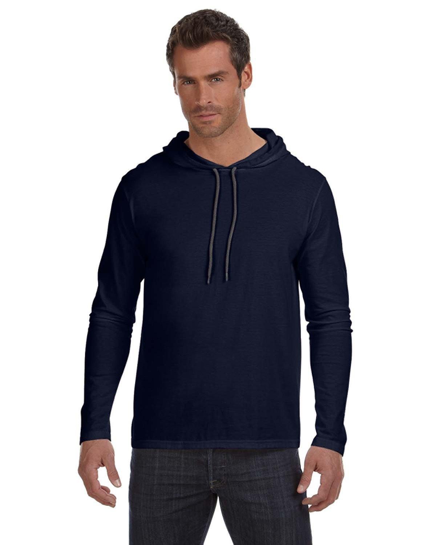 Anvil Adult Lightweight Long-Sleeve Hooded T-Shirt NAVY/ DARK GREY
