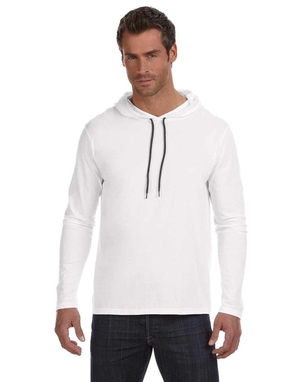 Anvil Adult Lightweight Long-Sleeve Hooded T-Shirt WHITE/ DARK GREY