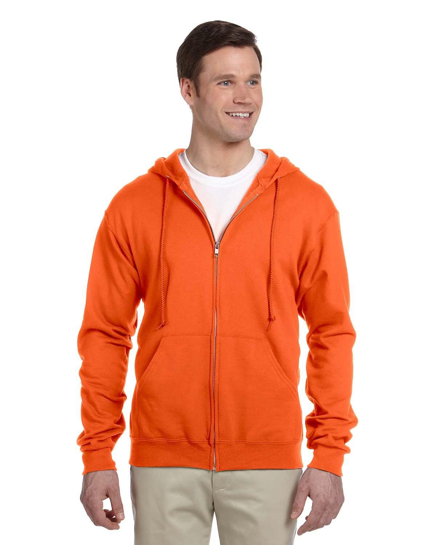 Jerzees Adult NuBlend® Fleece Full-Zip Hooded Sweatshirt SAFETY ORANGE