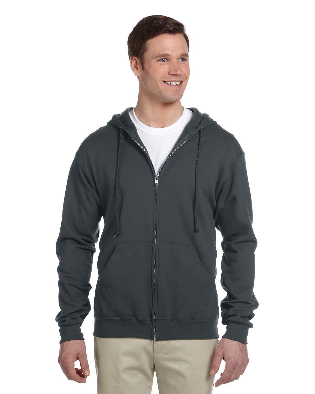 Jerzees Adult NuBlend® Fleece Full-Zip Hooded Sweatshirt BLACK HEATHER
