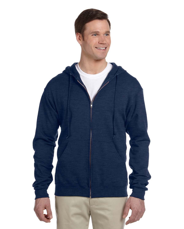 Jerzees Adult NuBlend® Fleece Full-Zip Hooded Sweatshirt VINTAGE HTH NAVY