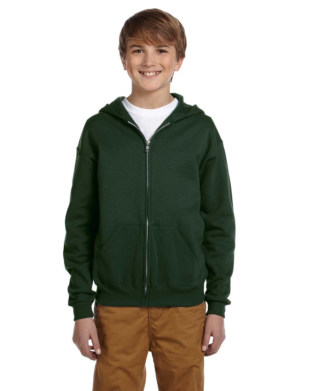 Jerzees Youth NuBlend® Fleece Full-Zip Hooded Sweatshirt FOREST GREEN
