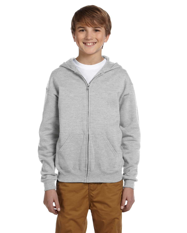 Jerzees Youth NuBlend® Fleece Full-Zip Hooded Sweatshirt ASH