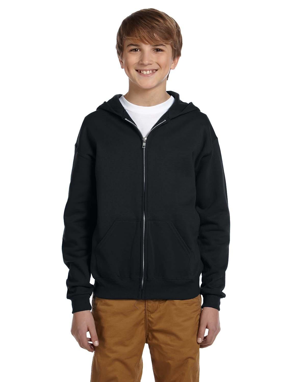 Jerzees Youth NuBlend® Fleece Full-Zip Hooded Sweatshirt BLACK