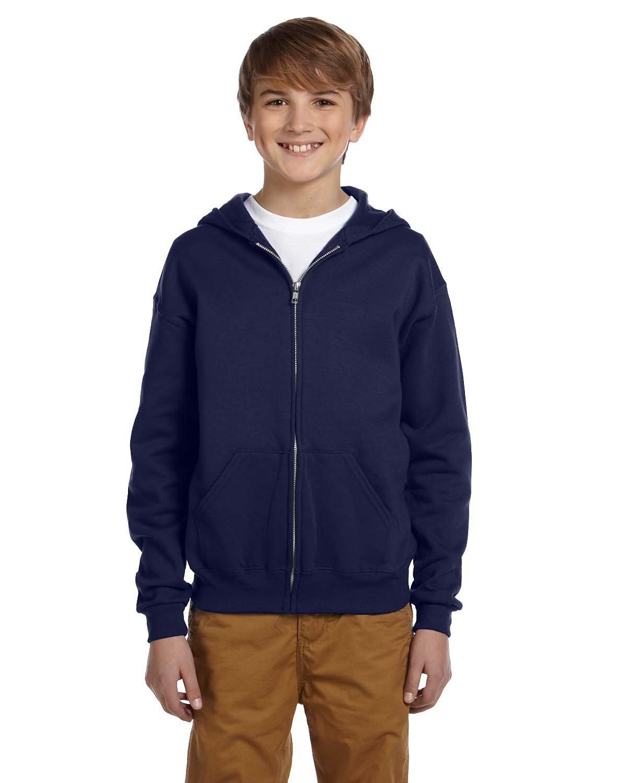 Jerzees Youth NuBlend® Fleece Full-Zip Hooded Sweatshirt J NAVY
