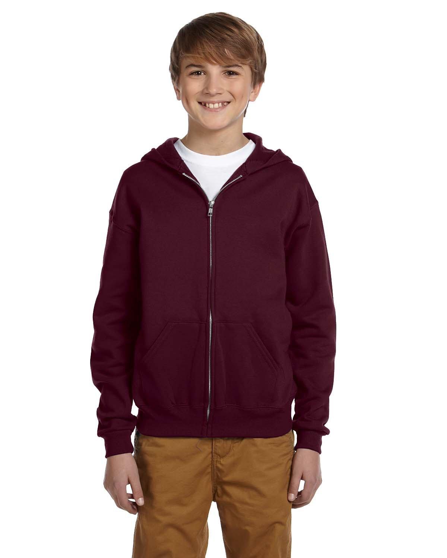 Jerzees Youth NuBlend® Fleece Full-Zip Hooded Sweatshirt MAROON