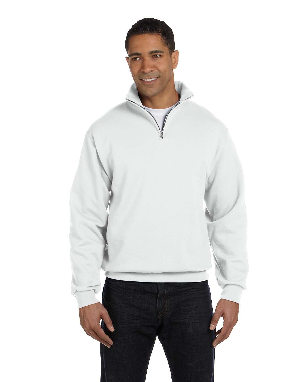 Jerzees Adult NuBlend® Quarter-Zip Cadet Collar Sweatshirt WHITE