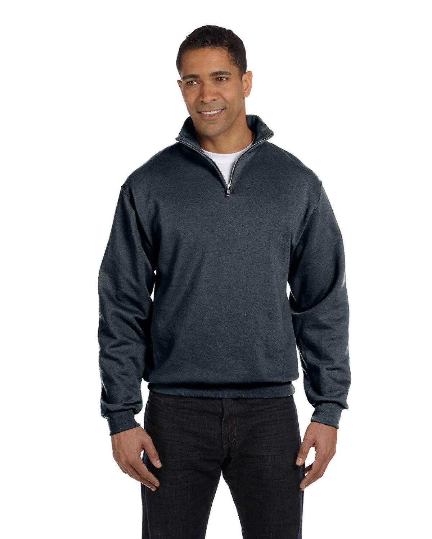 Jerzees Adult NuBlend® Quarter-Zip Cadet Collar Sweatshirt BLACK HEATHER