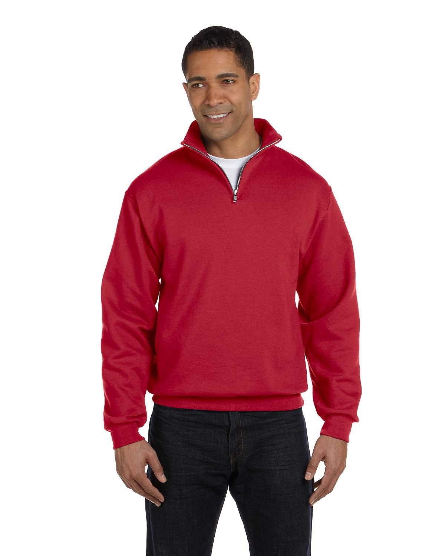 Jerzees Adult NuBlend® Quarter-Zip Cadet Collar Sweatshirt TRUE RED