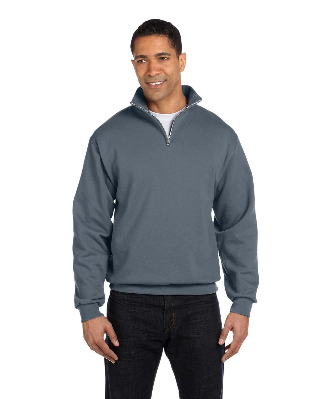 Jerzees Adult NuBlend® Quarter-Zip Cadet Collar Sweatshirt CHARCOAL GREY