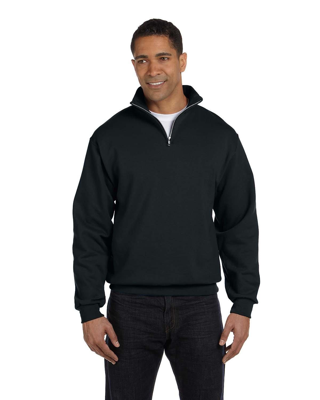 Jerzees Adult NuBlend® Quarter-Zip Cadet Collar Sweatshirt BLACK