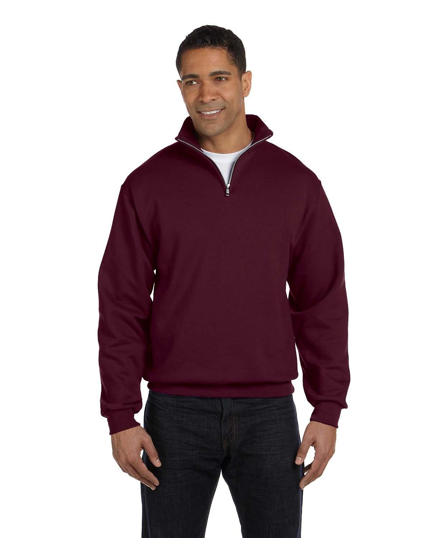 Jerzees Adult NuBlend® Quarter-Zip Cadet Collar Sweatshirt MAROON