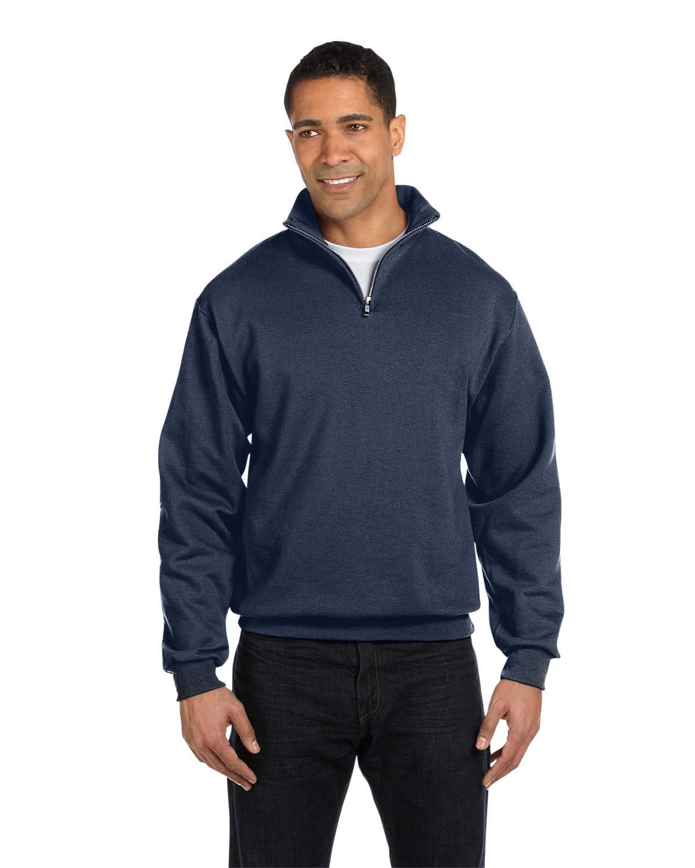 Jerzees Adult NuBlend® Quarter-Zip Cadet Collar Sweatshirt VINTAGE HTR NAVY