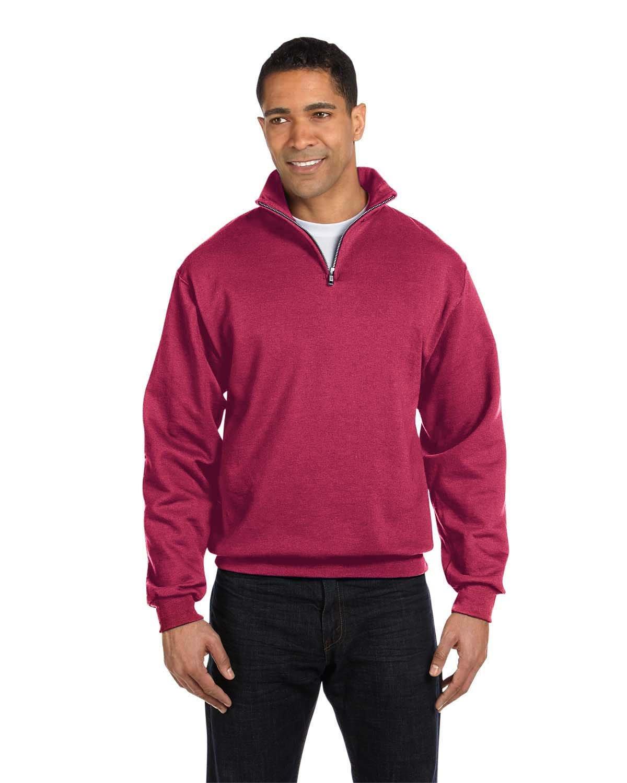 Jerzees Adult NuBlend® Quarter-Zip Cadet Collar Sweatshirt VINTAGE HTHR RED