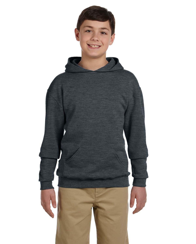 Jerzees Youth NuBlend® Fleece Pullover Hooded Sweatshirt BLACK HEATHER