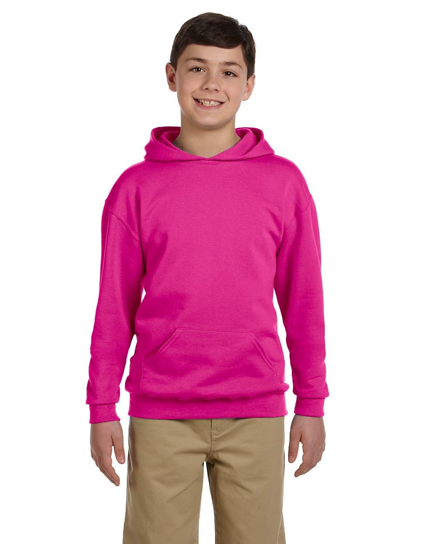 Jerzees Youth NuBlend® Fleece Pullover Hooded Sweatshirt CYBER PINK