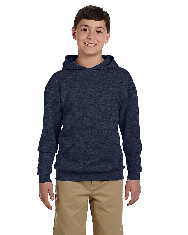 Jerzees Youth NuBlend® Fleece Pullover Hooded Sweatshirt VIN HTR NAVY