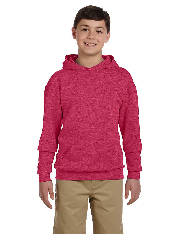 Jerzees Youth NuBlend® Fleece Pullover Hooded Sweatshirt VINT HTR RED