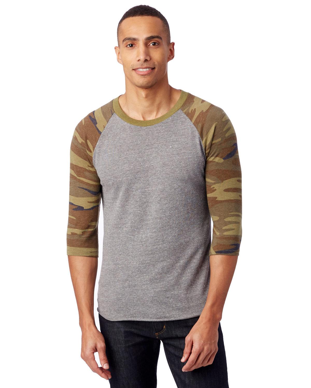 Alternative Unisex Baseball Eco-Jersey™ T-Shirt ECO GREY/ CAMO
