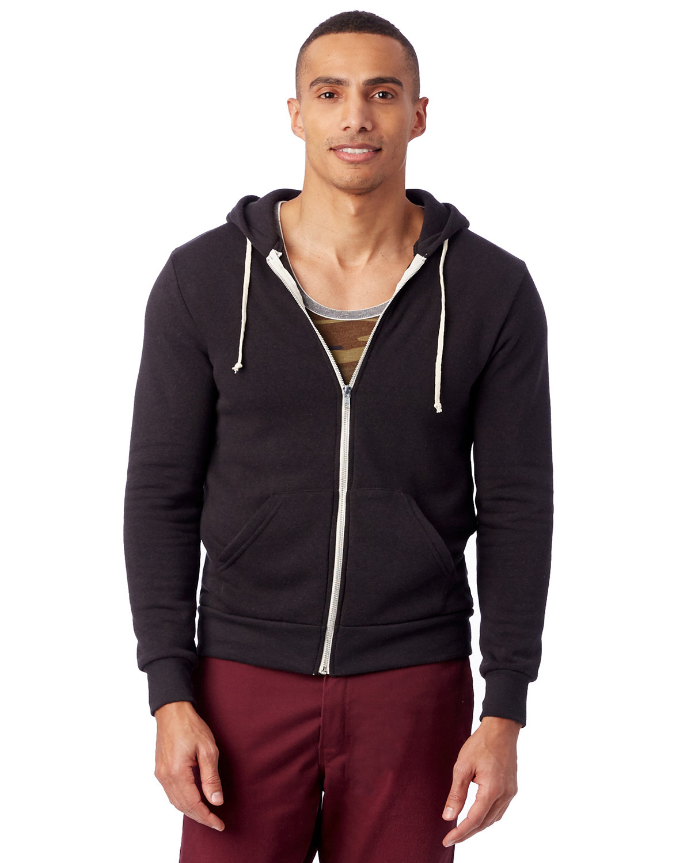 Alternative Men's Rocky Eco-Fleece Zip Hoodie ECO TRUE BLACK