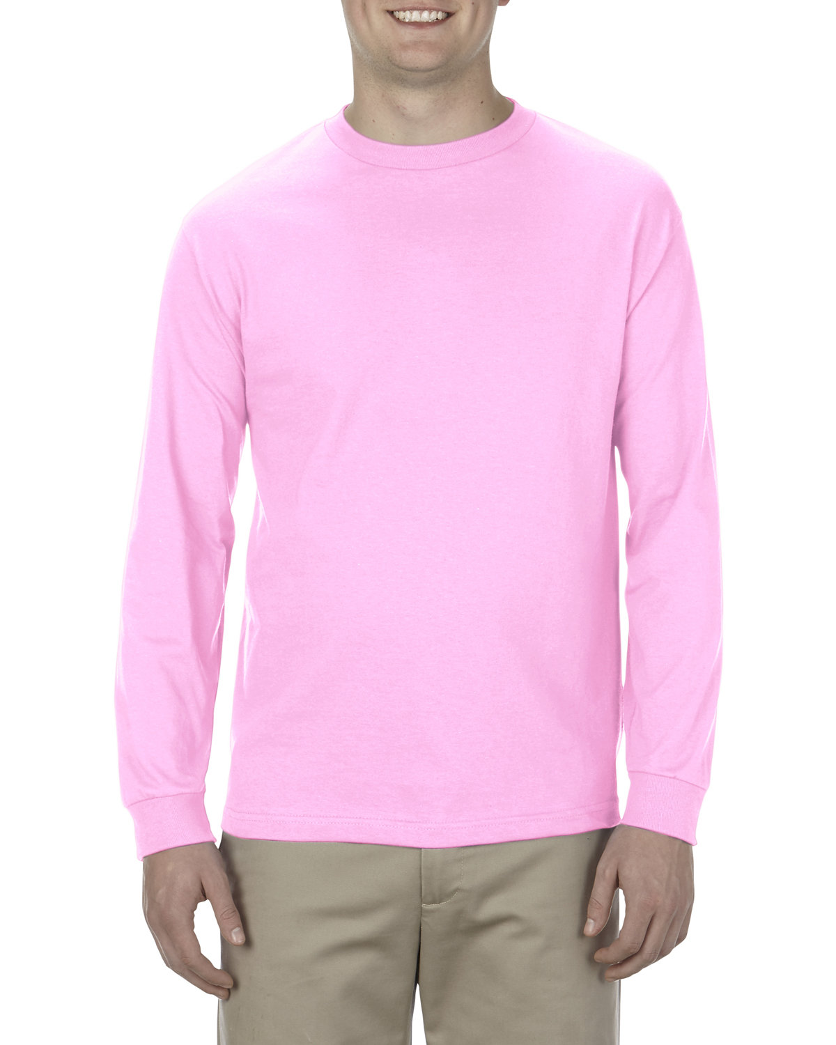 Alstyle Adult 6.0 oz., 100% Cotton Long-Sleeve T-Shirt PINK