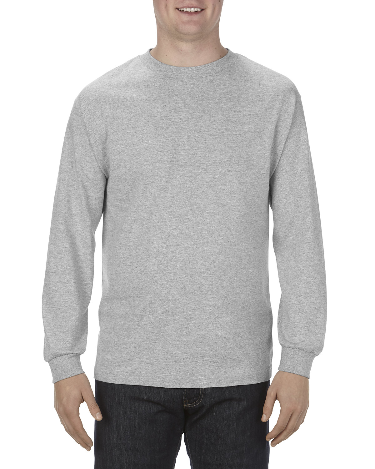 Alstyle Adult 6.0 oz., 100% Cotton Long-Sleeve T-Shirt ATHLETIC HEATHER
