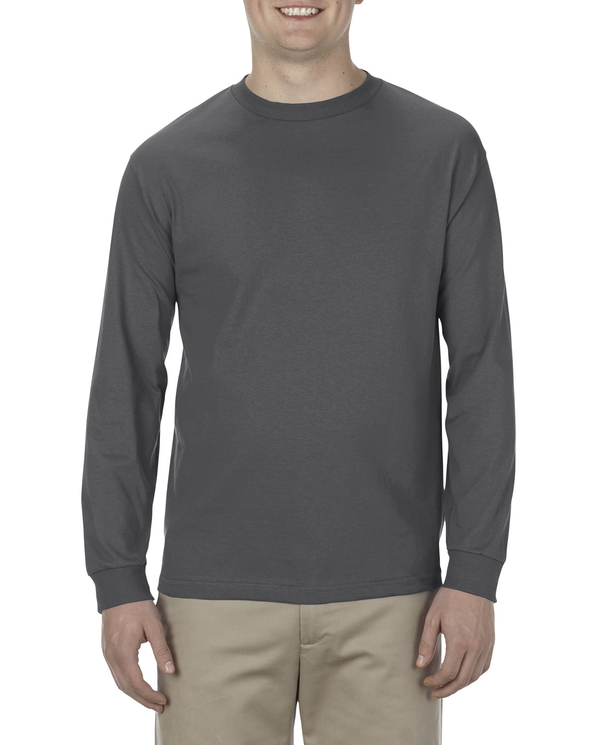 Alstyle Adult 6.0 oz., 100% Cotton Long-Sleeve T-Shirt CHARCOAL HEATHER