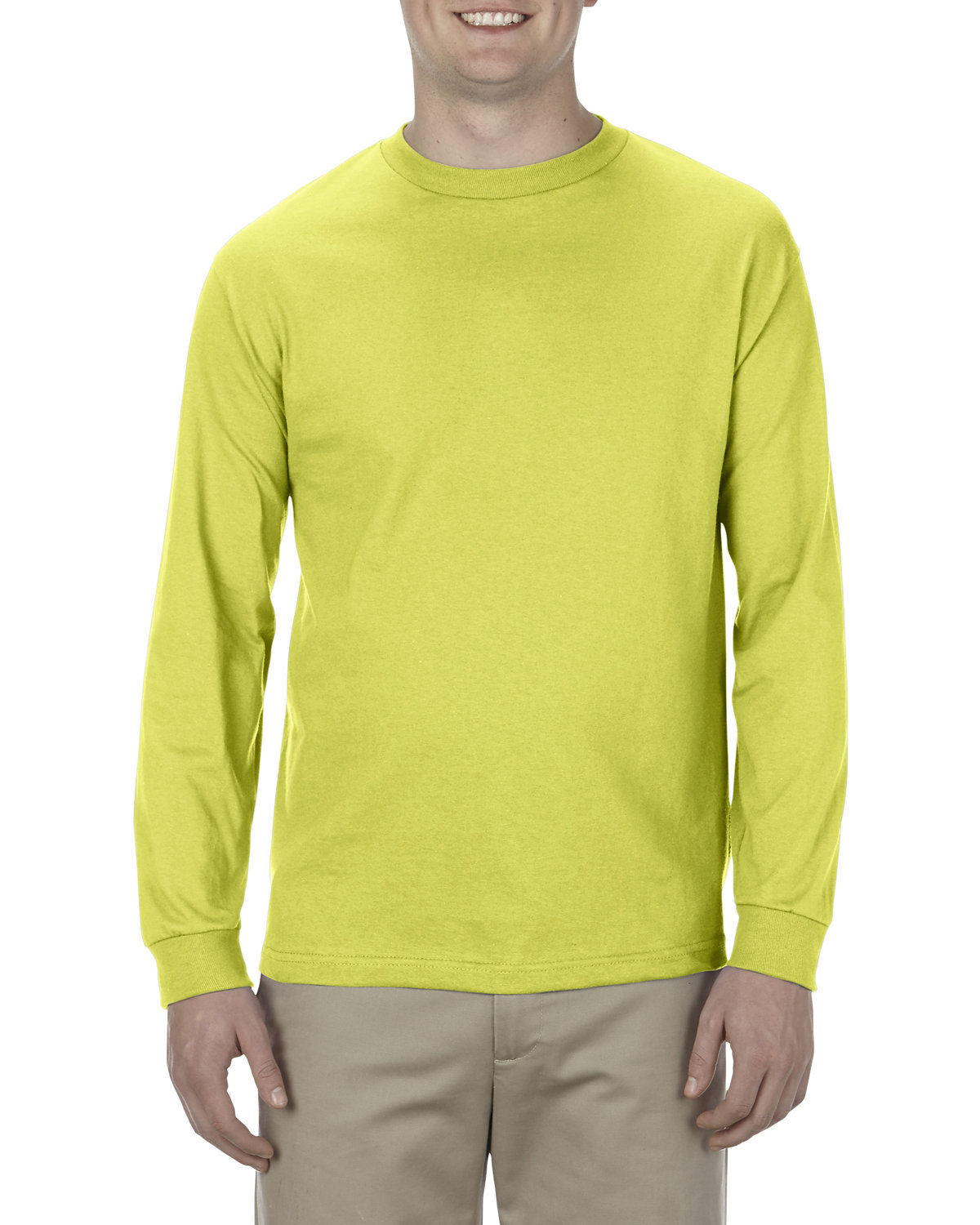 Alstyle Adult 6.0 oz., 100% Cotton Long-Sleeve T-Shirt SAFETY GREEN