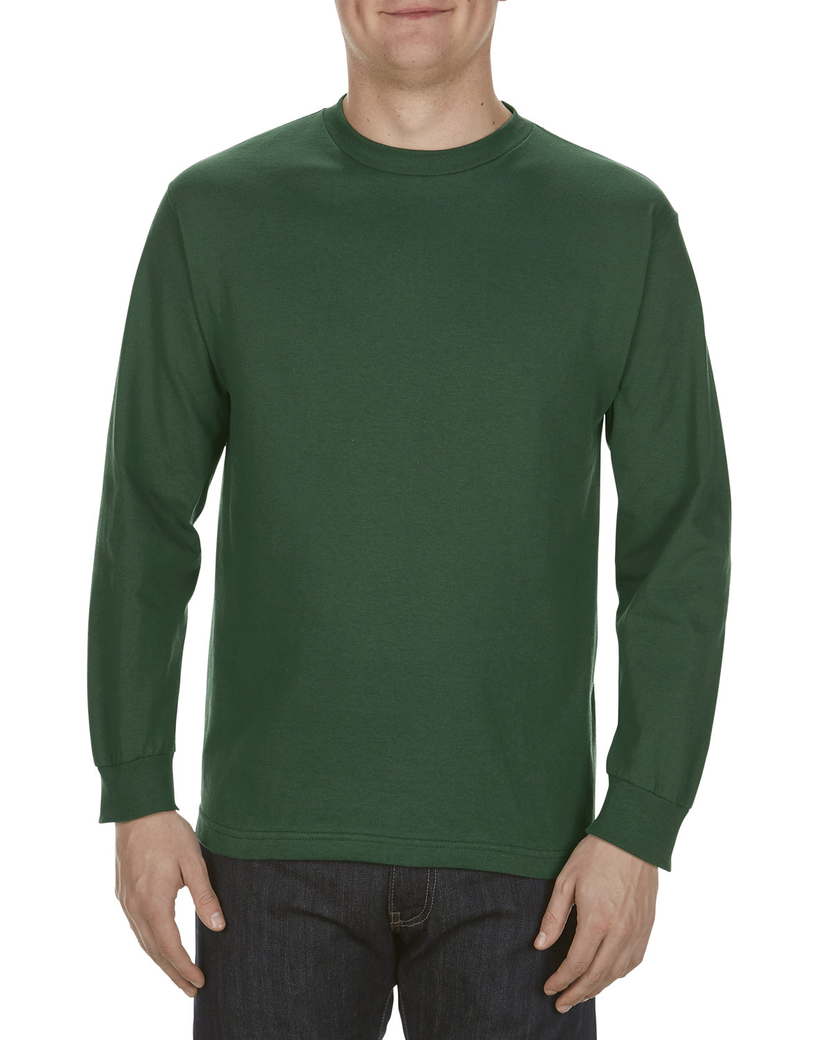 Alstyle Adult 6.0 oz., 100% Cotton Long-Sleeve T-Shirt FOREST GREEN