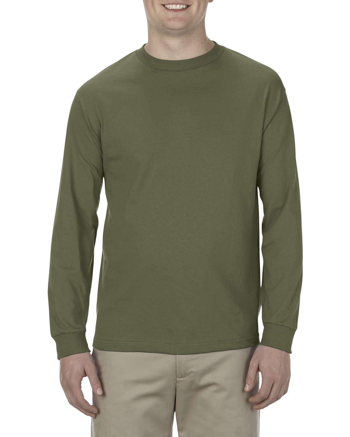 Alstyle Adult 6.0 oz., 100% Cotton Long-Sleeve T-Shirt MILITARY GREEN