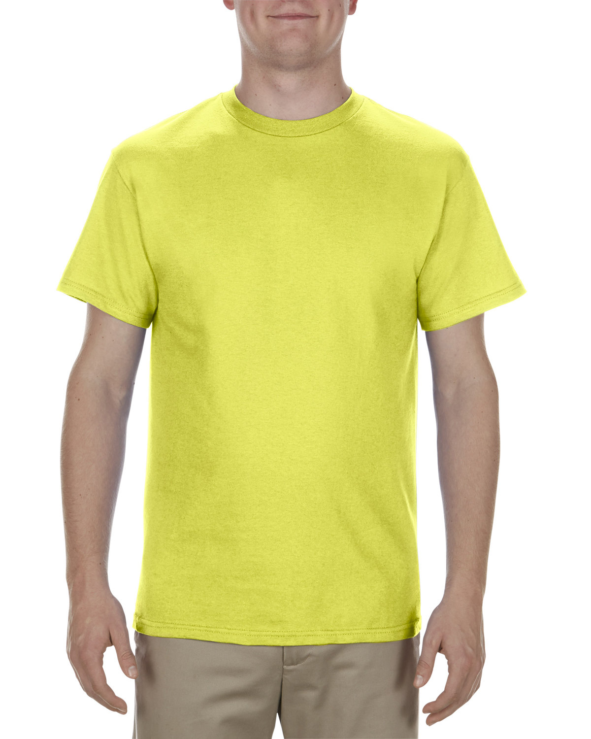Alstyle Adult 5.1 oz., 100% Cotton T-Shirt SAFETY GREEN