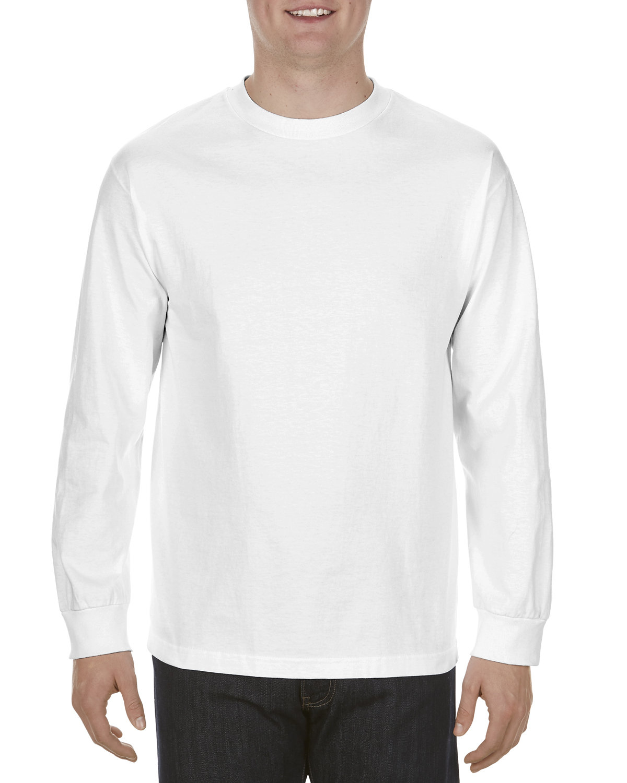Alstyle Adult 5.1 oz., 100% Soft Spun Cotton Long-Sleeve T-Shirt WHITE