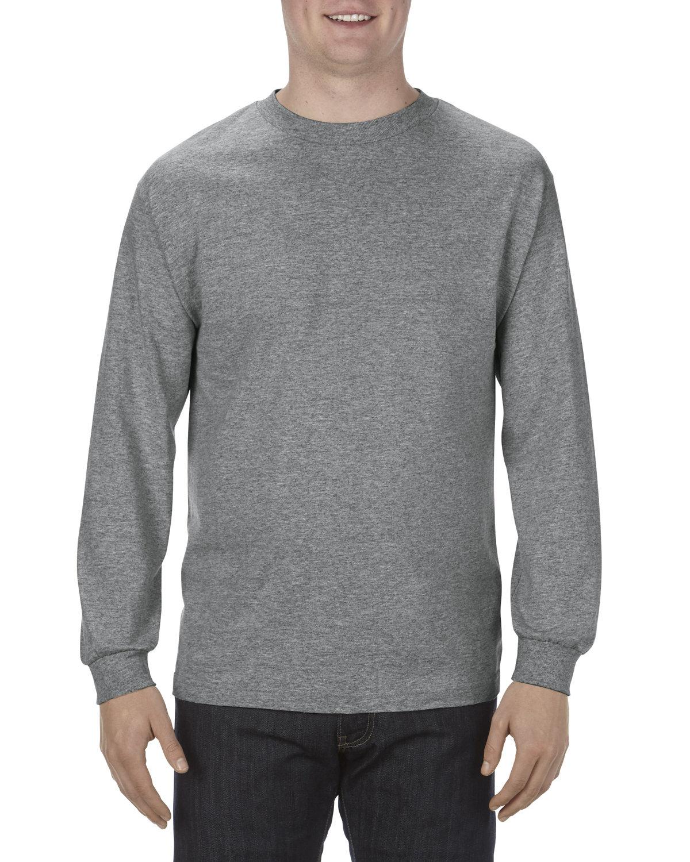 Alstyle Adult 5.1 oz., 100% Soft Spun Cotton Long-Sleeve T-Shirt GRAPHITE HEATHER