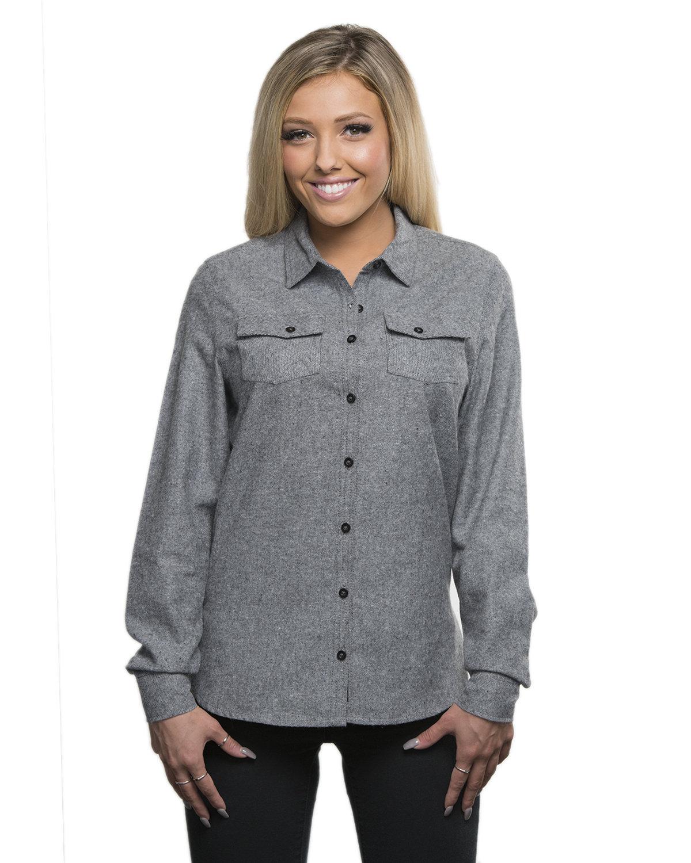Burnside Ladies' Solid Flannel Shirt HEATHER GREY