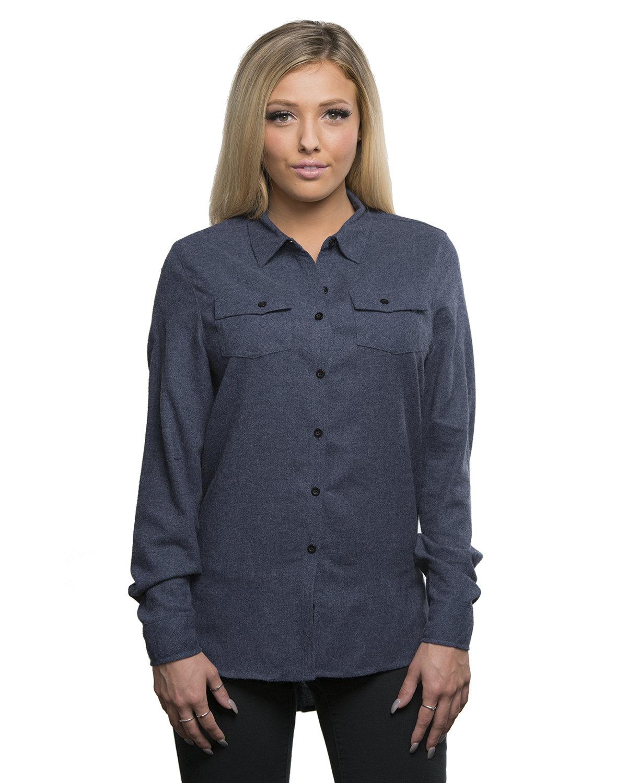 Burnside Ladies' Solid Flannel Shirt DENIM