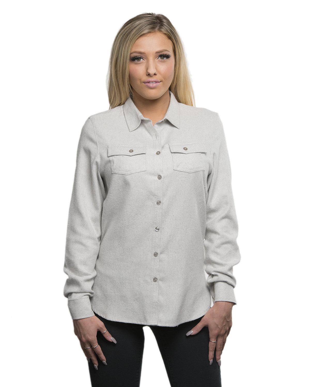 Burnside Ladies' Solid Flannel Shirt STONE